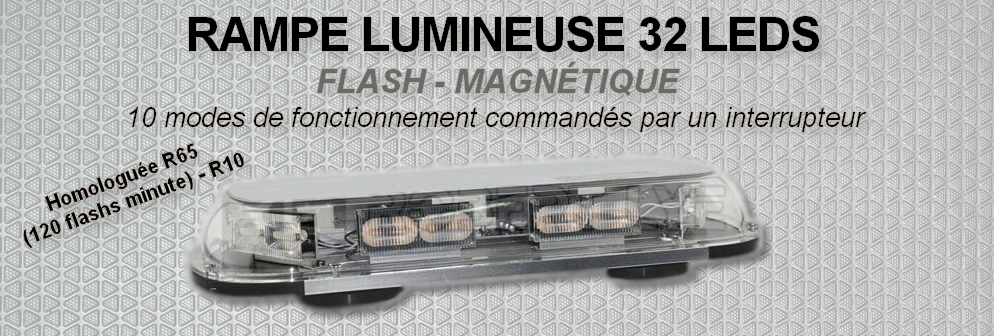 Rampe lumineuse magnétique - flash - 32 LEDS 12/24 Volts